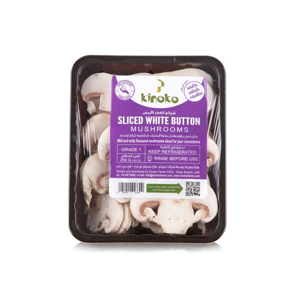 Kinoko sliced white button mushrooms 250g