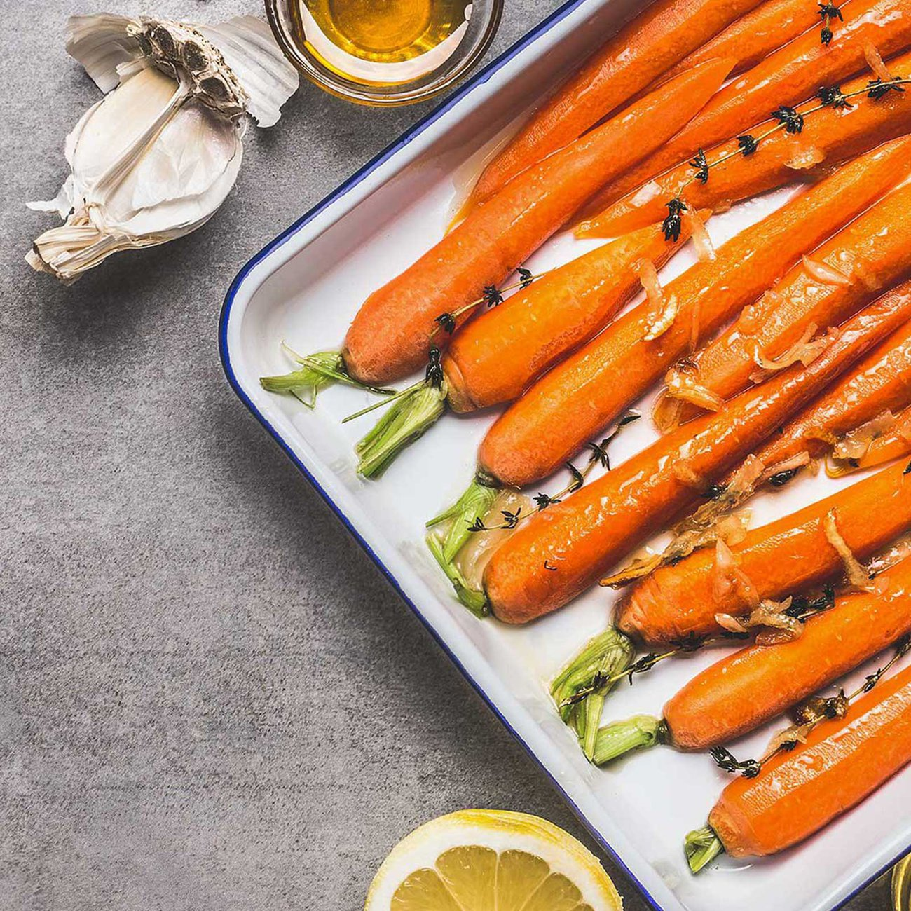 A drizzle of Honey on carrots before roasting for a sweeter flavour