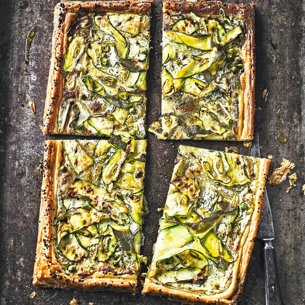 Courgette & pea tart
