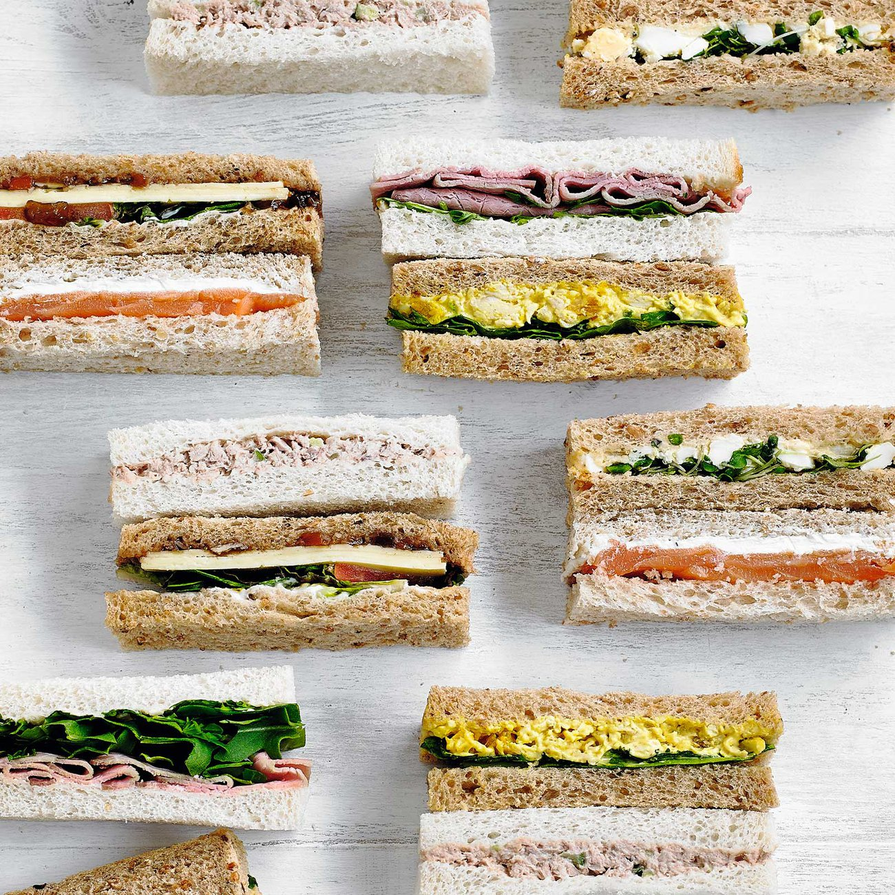 Finger sandwiches allow for a variety of flavours