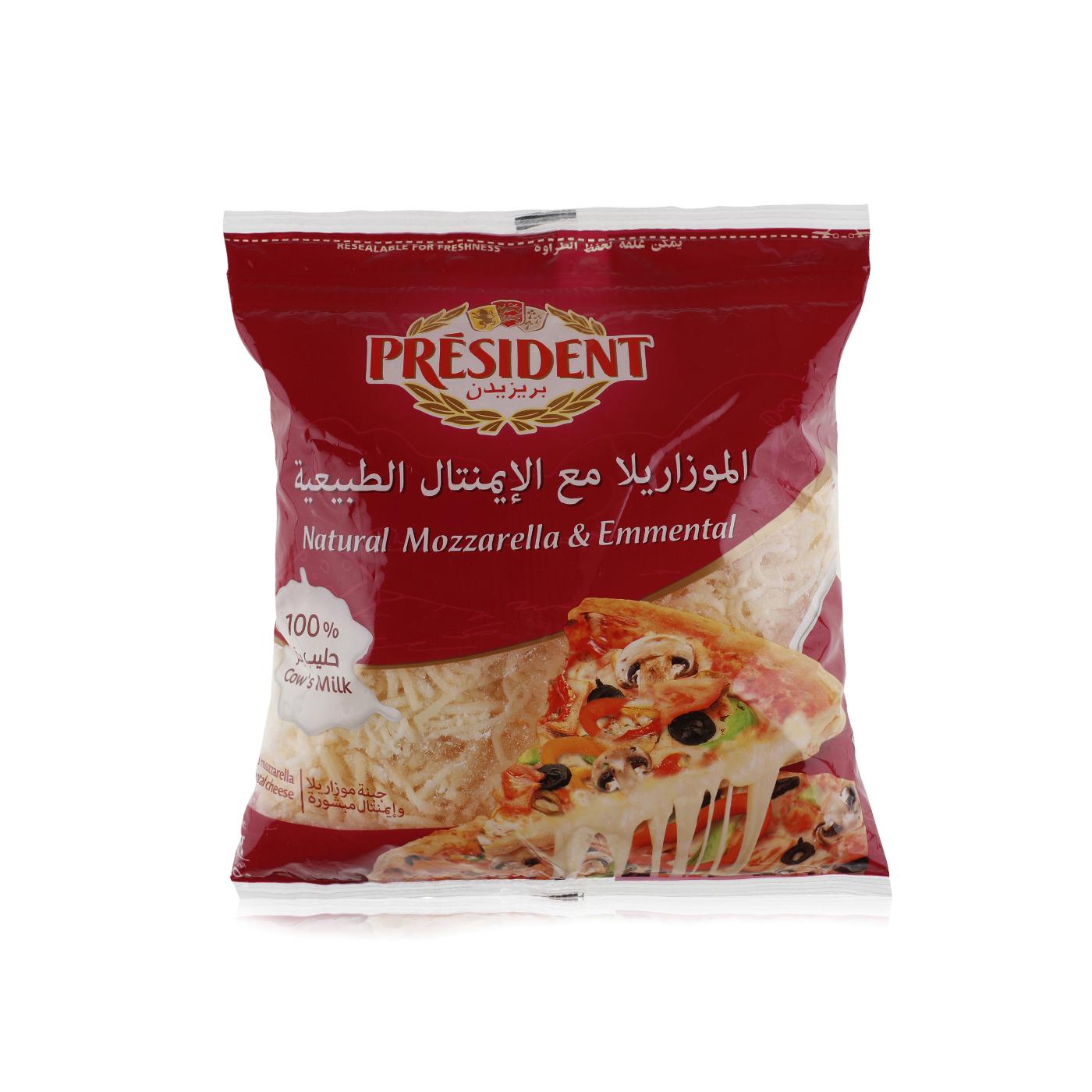 president shredded emmental  mozzarella cheese 450g
