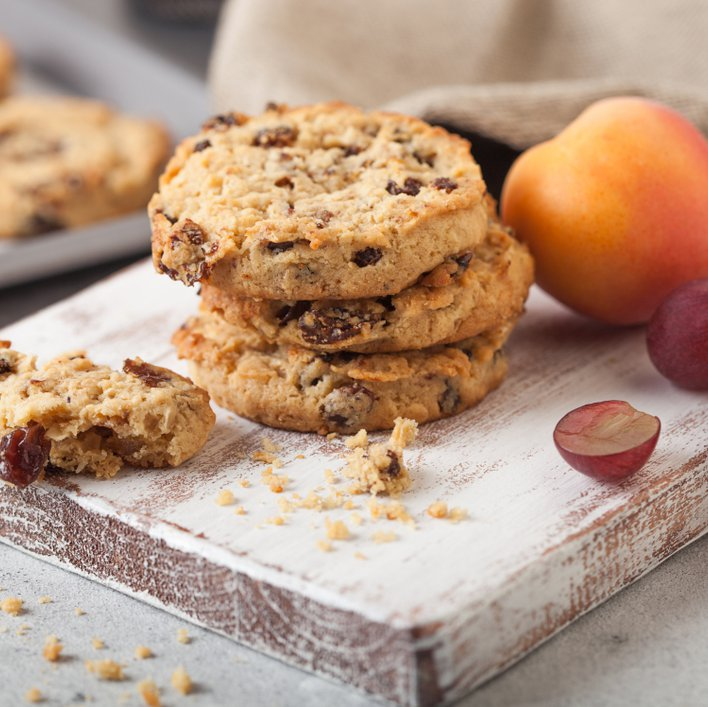 Raisins baked inside cookies add sweetness and texture.